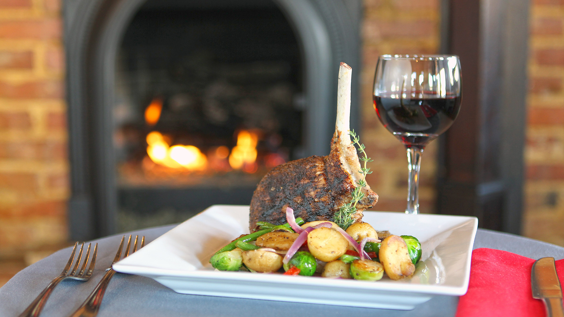 Food by Fireplace