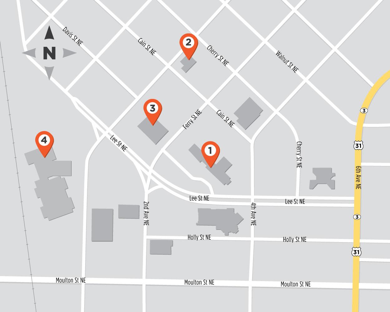 Mapa de las oficinas del condado de Morgan